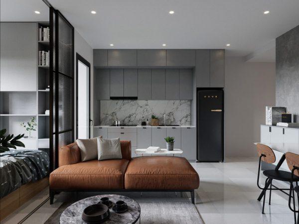 Phòng ngủ kết hợp phòng khách tiện nghi