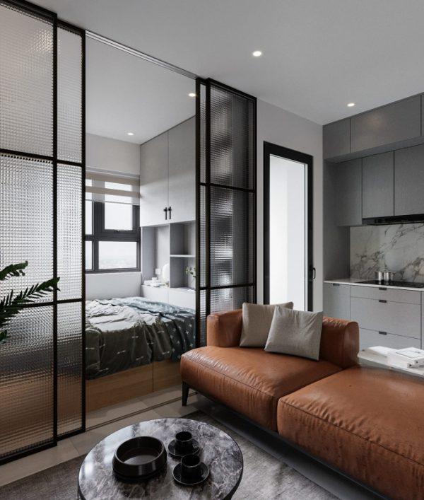 căn phòng với bộ sofa da nâu sang trọng