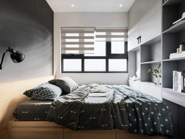 giường ngủ với tông màu trầm cá tính