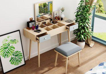 gương lật với các ngăn để đồ ở mặt bàn