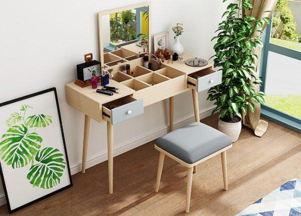 bàn phấn thông minh với gương lật với các ngăn để đồ ở mặt bàn