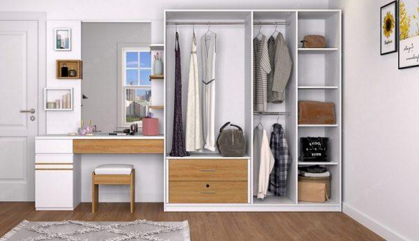 Tủ quần áo kết hợp bàn trang điểm màu trắng nâu