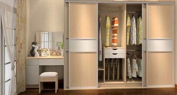 tủ đồ kết hợp bàn trang điểm gỗ công nghiệp