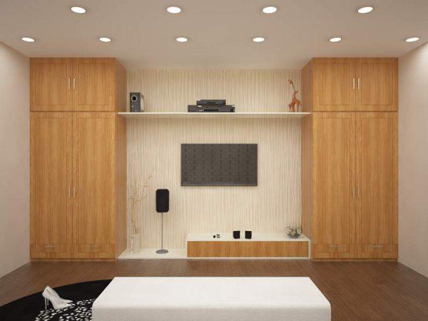 tủ quần áo kết hợp kệ tivi có thể bằng gỗ tự nhiên hoặc công nghiệp