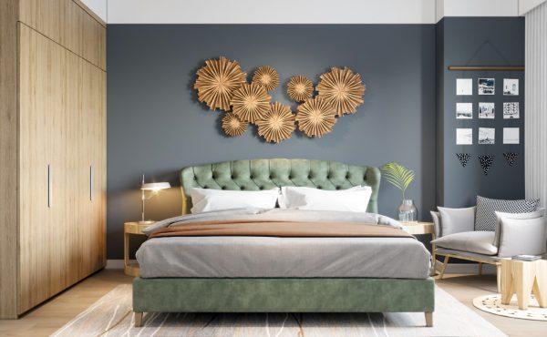 Giường bọc nệm màu sắc hợp thời trang, dễ kết hợp trong không gian phòng ngủ