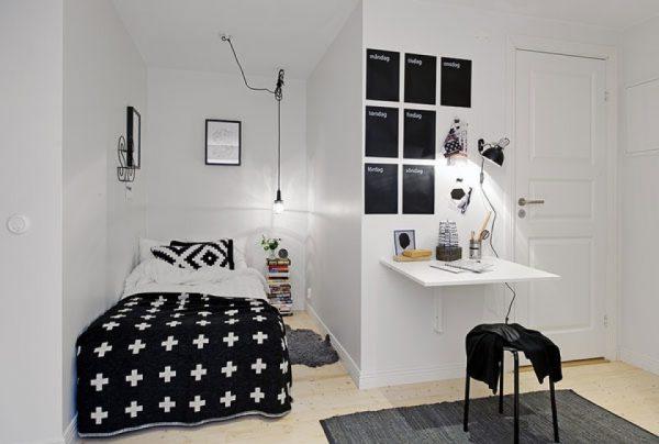 nội thất phòng ngủ diện tích nhỏ với màu sắc ấn tượng
