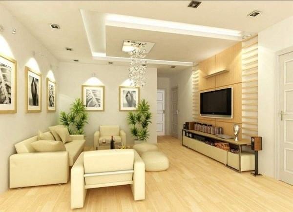 hệ thống trần lồi ở giữa tạo nên điểm nhấn cho không gian trần nhà thêm bừng sáng