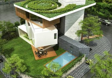 biệt thự đẹp có hồ bơi với hình khối độc đáo cùng các đường nét khỏe khoắn và được bao phủ hoàn hảo bởi không gian xanh
