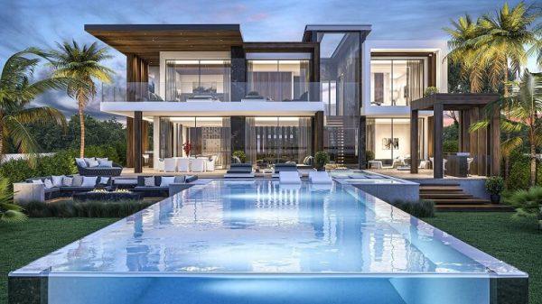 hồ bơi được đặt trước nhà là yếu tố tốt trong phong thủy