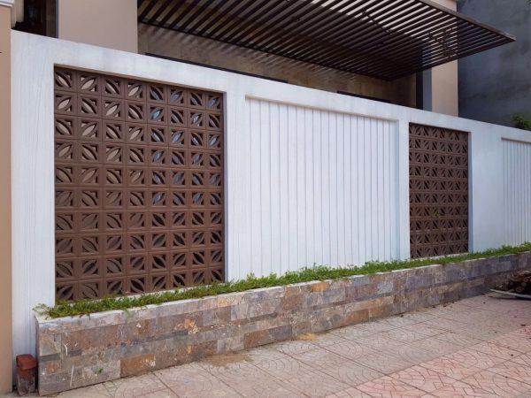 những mẫu hàng rào bằng gạch xi măng đẹp