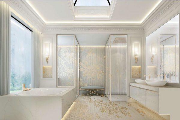 Thiết kế phòng tắm của mẫu biệt thự 4 tầng 400m2 tiện nghi và đẳng cấp