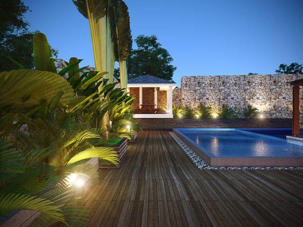 hồ bơi của thiết kế biệt thự 4 tầng xanh trong