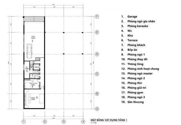 mặt bằng tầng 1 mẫu biệt thự 4 tầng hiện đại