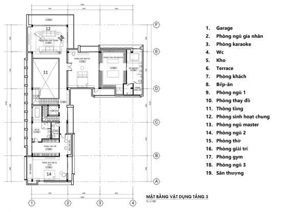 mặt bằng tầng 3 mẫu thiết kế biệt thự