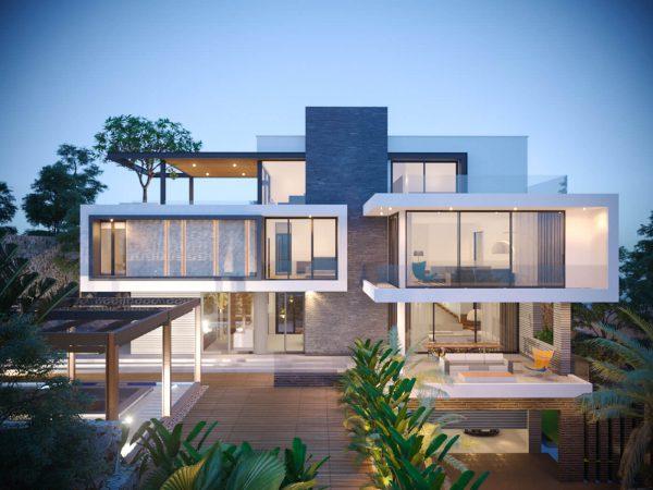 toàn cảnh mẫu biệt thự 4 tầng phong cách hiện đại