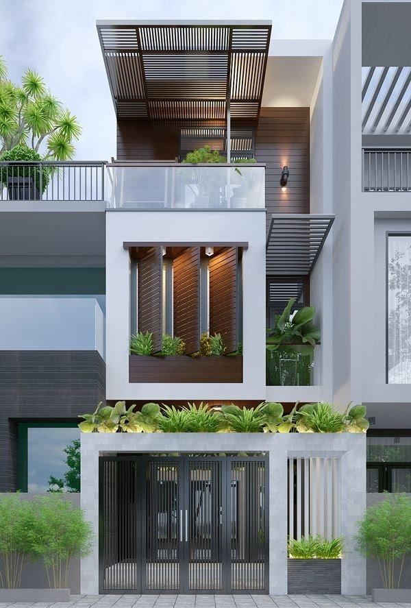 mẫu nhà 3 tầng đẹp với không gian xanh