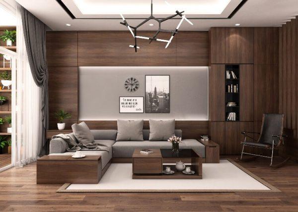 phòng khách với tông màu gỗ trầm ấm, gần gũi