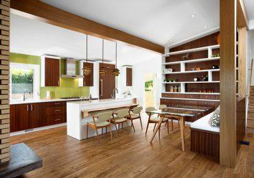 phòng ăn sử dụng nội thất gỗ công nghiệp