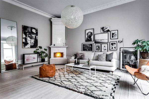 Nội thất phòng khách phong cách Scandinavian với gam màu trầm
