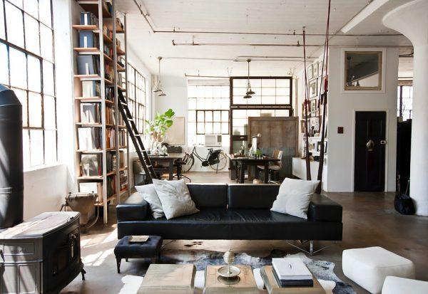 phòng khách phong cách công nghiệp