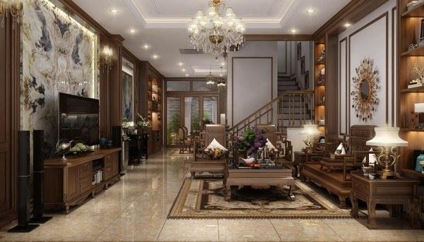 phòng khách nội thất gỗ tự nhiên đẹp sang trọng