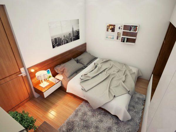 bố trí phòng ngủ nhỏ với những món đồ tiện nghi