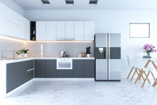 Sơn tường trắng ấn tượng cho phòng bếp