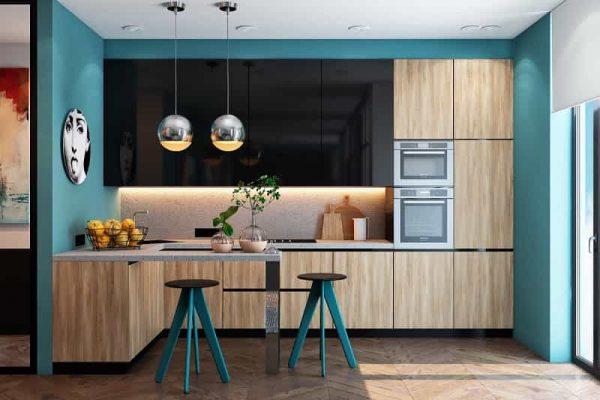 Căn bếp kết hợp màu xanh dương ấn tượng