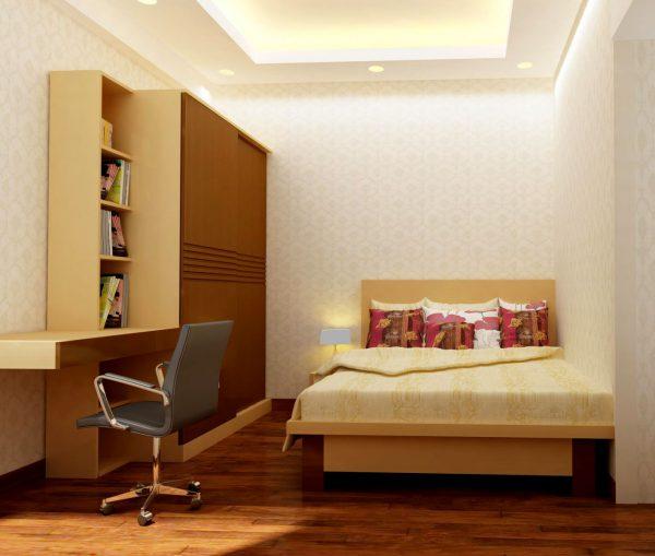 phòng ngủ với những món đồ nội thất chất liệu gỗ sang trọng