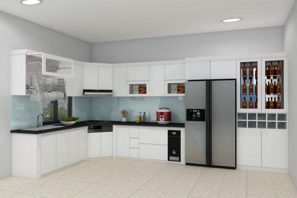 thiết kế tủ bếp đẹp gam màu trắng hiện đại