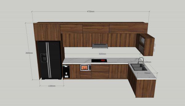 kích thước tủ bếp chưa tủ lạnh