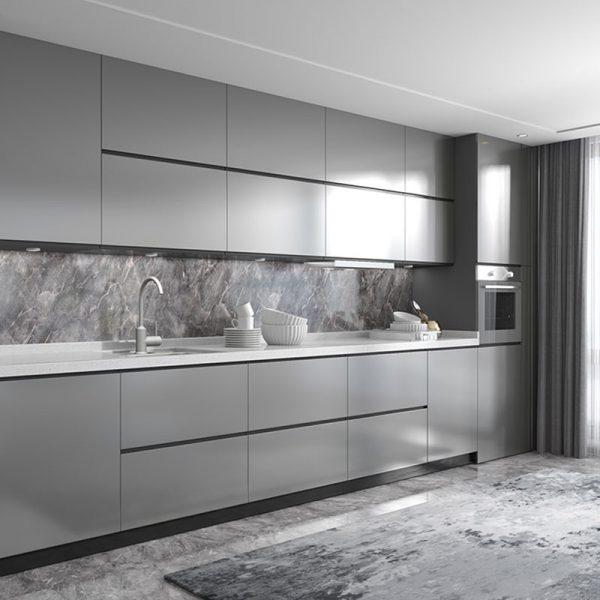 tủ bếp đẹp với tông màu ghi sang trọng