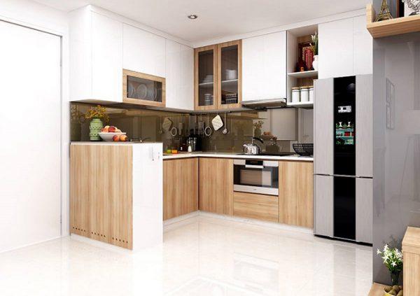 tủ bếp thủy tinh kết hợp gỗ