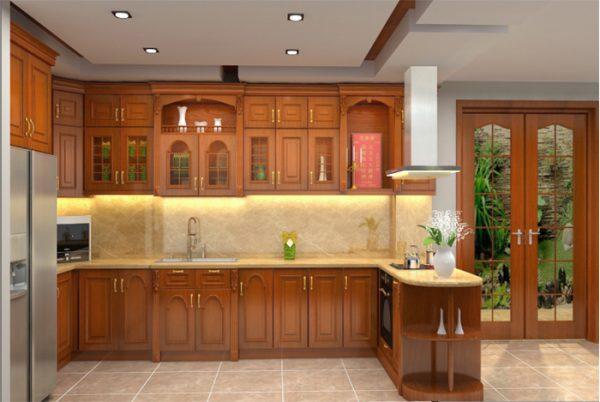 tủ bếp có bàn thờ ông táo