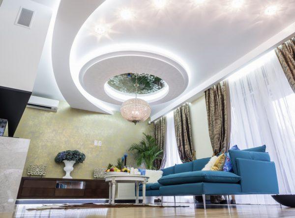 trần thạch cao giật cấp sang trọng cho phòng khách