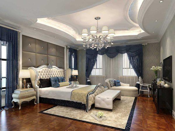 trần thạch cao giật cấp sang trọng cho phòng ngủ tân cổ điển