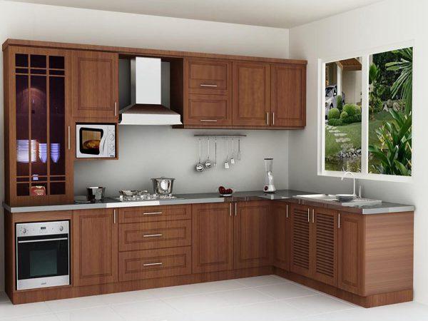 Tủ bếp gỗ veneer xoan đào