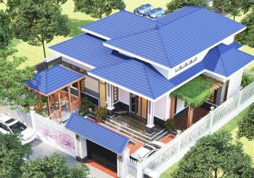 mẫu thiết kế biệt thự 1 tầng mái Nhật