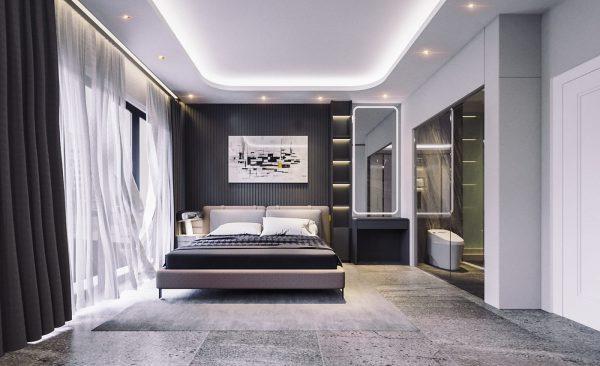 phòng ngủ với gam màu tối cá tính