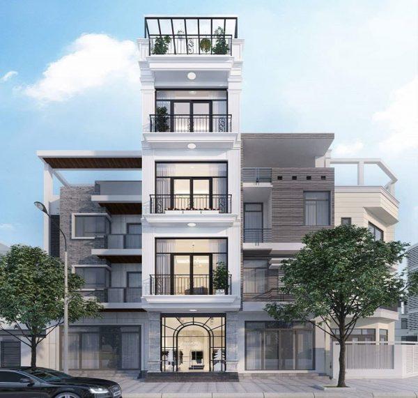 mẫu nhà 5 tầng tận dụng không gian xanh