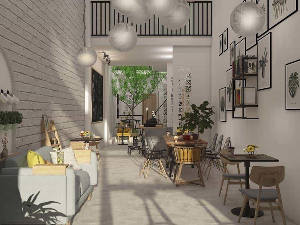 mô hình quán cafe nhà ống hiện đại, sang trọng