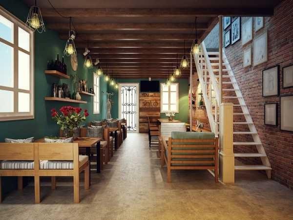 Màu nâu gỗ đặc trưng cùng hoa văn vintage cũng được sử dụng triệt để và hài hòa trong thiết kế quán cafe