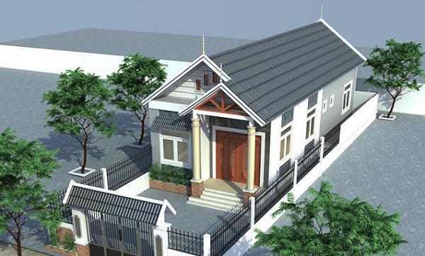 thiết kế nhà cấp 4 đẹp 4x20 mái Thái