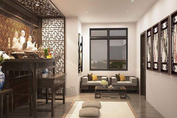 thiết kế phòng khách kết hợp bàn thờ