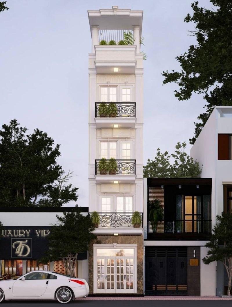 Thiết kế nhà ống 5 tầng phong cách tân cổ điển