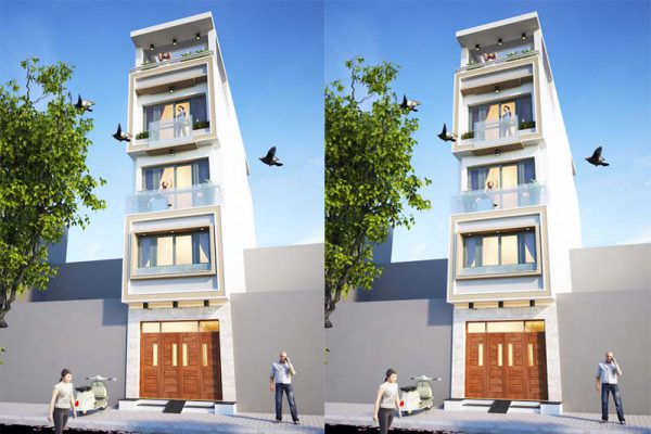 Thiết kế nhà ống 5 tầng 60m2 kết hợp kinh doanh