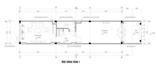 Mặt bằng công năng tầng 1 thiết kế nhà ống 5 tầng 60m2