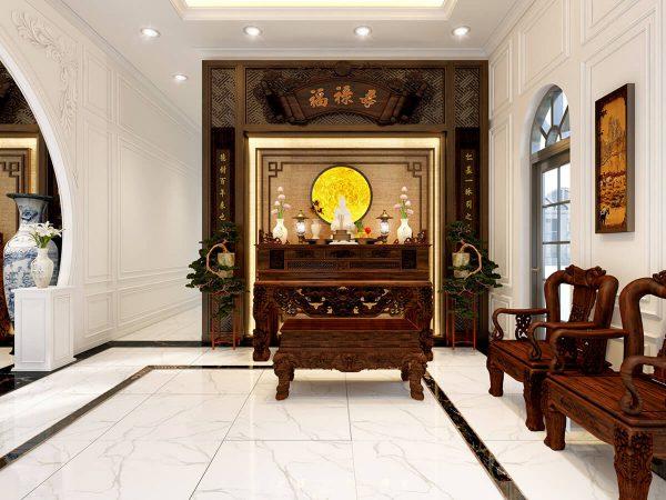 Nội thất phòng thờ ở vị trí linh thiêng, riêng biệt tạo cảm giác thanh tịnh.