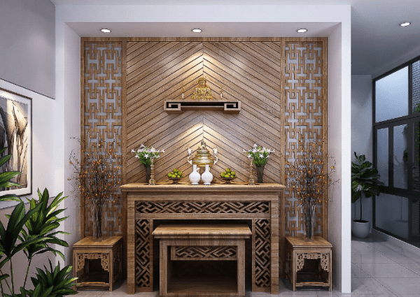 thiết kế phòng thờ tân cổ điển với những gam màu đặc trưng của kiến trúc tân cổ điển