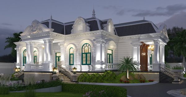 Tòa biệt thự cổ điển 1 tầng tráng lệ hơn nhờ có hệ mái mansard như chiếc vương miện cao quý